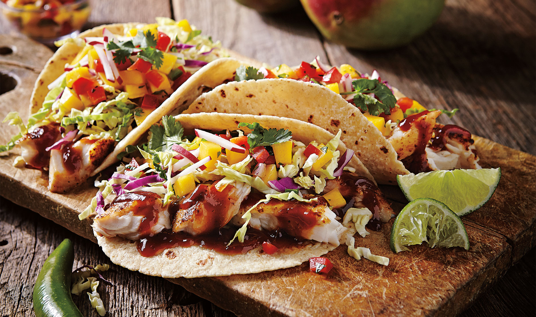Chipotle BBQ fish tacos